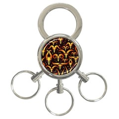 Stylised Horns Black Pattern 3 Ring Key Chains