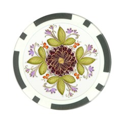 Flowers Decorative Flowers Pattern Poker Chip Card Guard