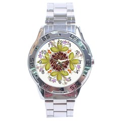 Flowers Decorative Flowers Pattern Stainless Steel Analogue Watch by Pakrebo