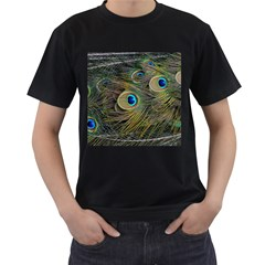 Peacock Tail Feathers Close Up Men s T Shirt (black)