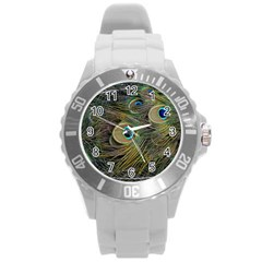 Peacock Tail Feathers Close Up Round Plastic Sport Watch (l)