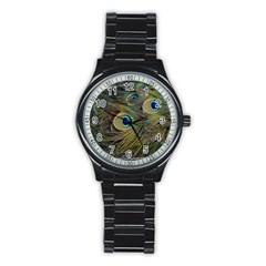 Peacock Tail Feathers Close Up Stainless Steel Round Watch