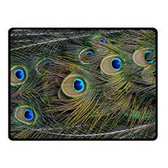 Peacock Tail Feathers Close Up Double Sided Fleece Blanket (small)