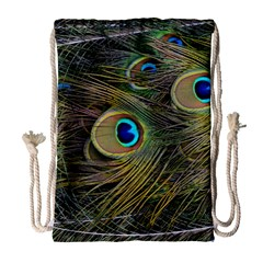 Peacock Tail Feathers Close Up Drawstring Bag (large)