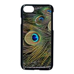 Peacock Tail Feathers Close Up Apple Iphone 7 Seamless Case (black) by Pakrebo