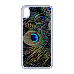 Peacock Tail Feathers Close Up Apple Iphone Xr Seamless Case (white)