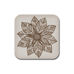 Flower Mandala Christmas Xmas Rubber Coaster (square)