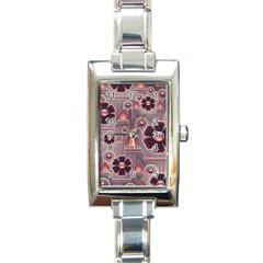 Background Floral Flower Stylised Rectangle Italian Charm Watch by Pakrebo