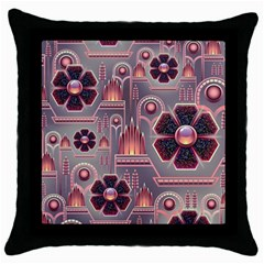 Background Floral Flower Stylised Throw Pillow Case (black) by Pakrebo