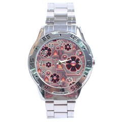Background Floral Flower Stylised Stainless Steel Analogue Watch by Pakrebo