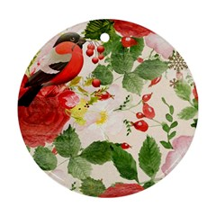 Christmas Bird Floral Berry Ornament (round)