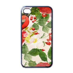 Christmas Bird Floral Berry Apple Iphone 4 Case (black)