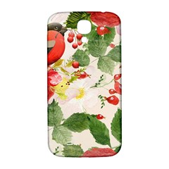 Christmas Bird Floral Berry Samsung Galaxy S4 I9500/i9505  Hardshell Back Case