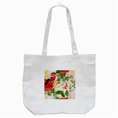 Christmas Bird Floral Berry Tote Bag (white)