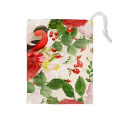 Christmas Bird Floral Berry Drawstring Pouch (large)