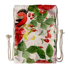 Christmas Bird Floral Berry Drawstring Bag (large) by Pakrebo