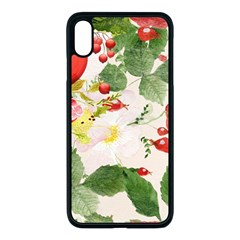 Christmas Bird Floral Berry Apple Iphone Xs Max Seamless Case (black)