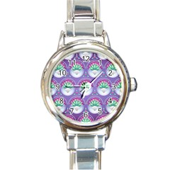 Background Floral Pattern Purple Round Italian Charm Watch by Pakrebo