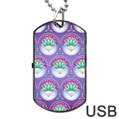 Background Floral Pattern Purple Dog Tag Usb Flash (one Side)