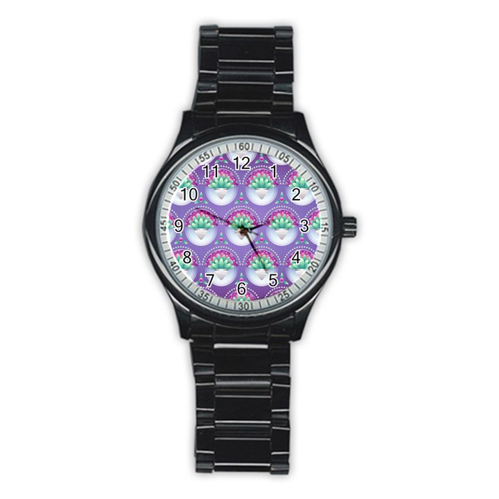 Background Floral Pattern Purple Stainless Steel Round Watch