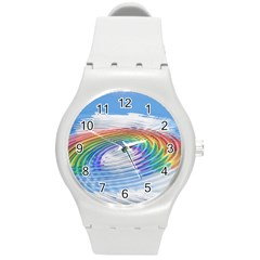 Rainbow Clouds Intimacy Intimate Round Plastic Sport Watch (m)
