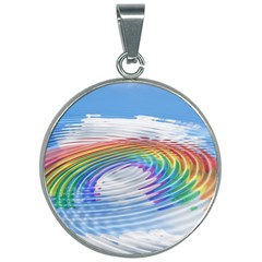 Rainbow Clouds Intimacy Intimate 30mm Round Necklace by Pakrebo