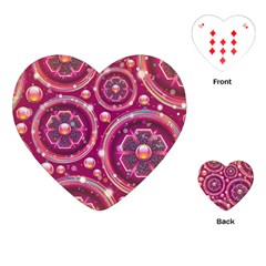Abstract Background Floral Glossy Playing Cards (heart)