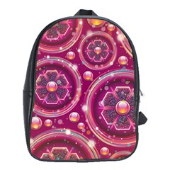 Abstract Background Floral Glossy School Bag (large)