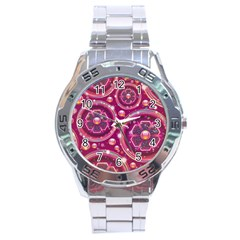 Abstract Background Floral Glossy Stainless Steel Analogue Watch