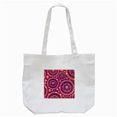 Abstract Background Floral Glossy Tote Bag (white)