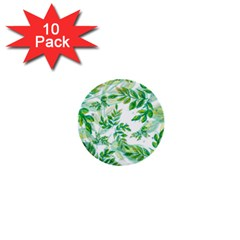 Leaves Green Pattern Nature Plant 1  Mini Buttons (10 Pack)  by Pakrebo