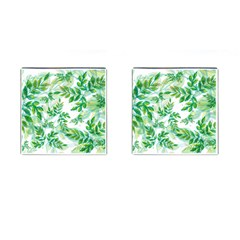 Leaves Green Pattern Nature Plant Cufflinks (square)