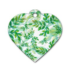 Leaves Green Pattern Nature Plant Dog Tag Heart (two Sides) by Pakrebo