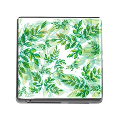 Leaves Green Pattern Nature Plant Memory Card Reader (square 5 Slot)