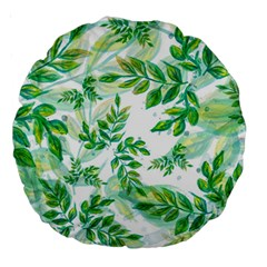 Leaves Green Pattern Nature Plant Large 18  Premium Round Cushions