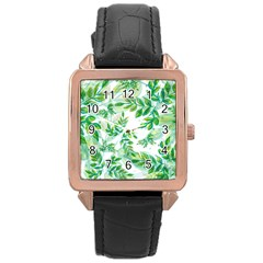 Leaves Green Pattern Nature Plant Rose Gold Leather Watch