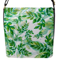 Leaves Green Pattern Nature Plant Flap Closure Messenger Bag (s)