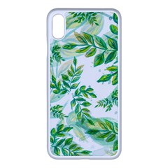 Leaves Green Pattern Nature Plant Apple Iphone Xs Max Seamless Case (white)