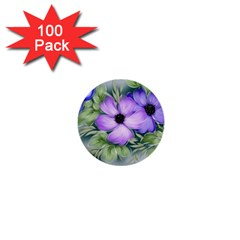 Flowers Vector Illustration Figure 1  Mini Buttons (100 Pack)