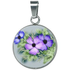 Flowers Vector Illustration Figure 20mm Round Necklace
