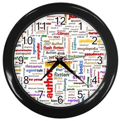 Writing Author Motivation Words Wall Clock (black)