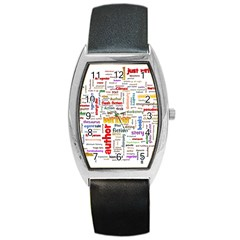 Writing Author Motivation Words Barrel Style Metal Watch
