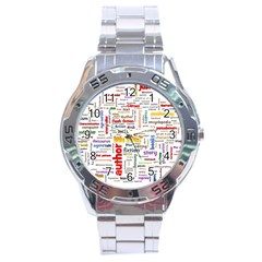 Writing Author Motivation Words Stainless Steel Analogue Watch