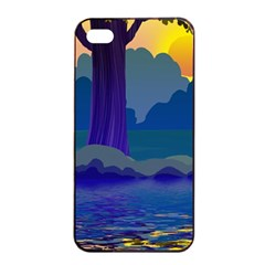 Illustration Vector Forest Nature Apple Iphone 4/4s Seamless Case (black)