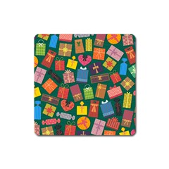 Presents Gifts Background Colorful Square Magnet by Pakrebo
