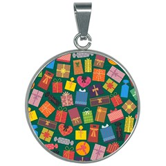 Presents Gifts Background Colorful 30mm Round Necklace by Pakrebo