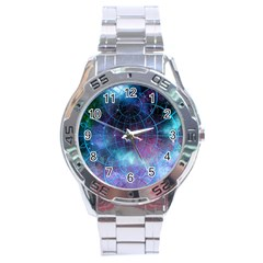 Network Earth Block Chain Globe Stainless Steel Analogue Watch by Pakrebo