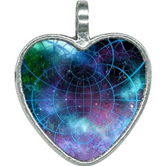 Network Earth Block Chain Globe Heart Necklace