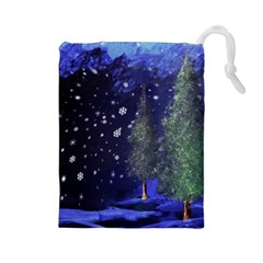 Winter Wonderland Night Snow Drawstring Pouch (large)