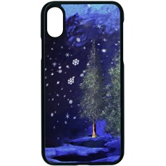 Winter Wonderland Night Snow Apple Iphone X Seamless Case (black)